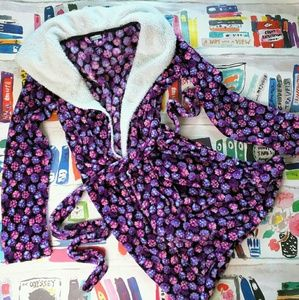 Vera Bradley Plush Purple Hooded Robe S/M